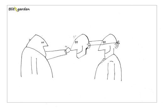 Blitzgarden Cartoon für Menschenkenner-Mkt. Oli Kock: Selbstähnlichkeit Mann und Maske