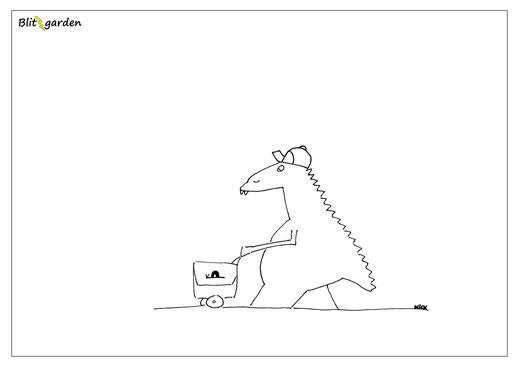 Nick Blitzgarden Cartoon für Menschenkenner-Mkt. Oli Kock Dino Postbote