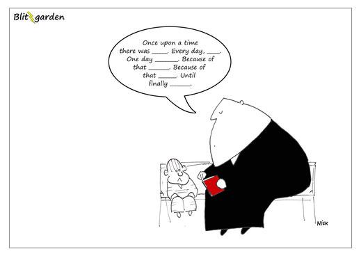 Menschenkenner-Mkt. Blitzgarden Cartoon:  DIY Geschichte