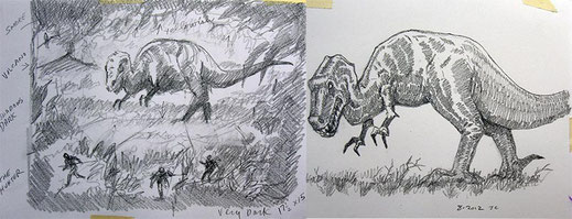 """Dinosaur Hunter and Hunted"" - Sketch by Jack Connelly"