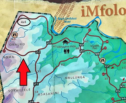 ax-Allrad-Strecke im Hluhluwe-Imfolozi Game Reserve.