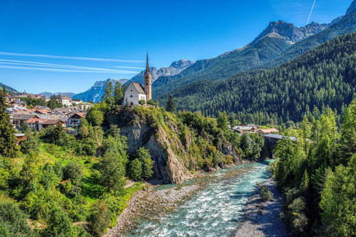 Fahrrad-Reise durch Graubünden in der Schweiz.