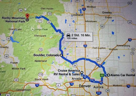 Unsere (Umweg-) Route von der Mietstation in den Rocky Mountain Nationalpark.