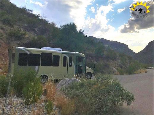 Nur Shuttles verkehren im den Sabino Canyon in Tucson.