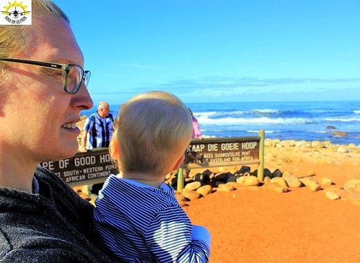 Auch mit Baby kann man an das Kap der guten Hoffnung reisen.