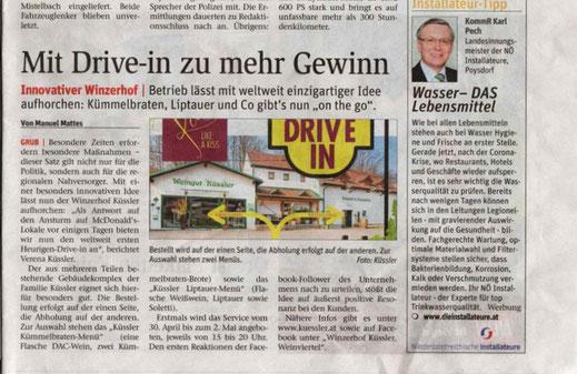 Weltweit erster Heurigen-DRIVE IN
