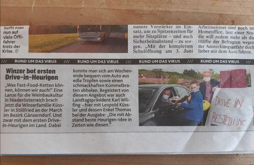 weltweit erster Heurigen-DRIVE IN, Winzerhof Küssler