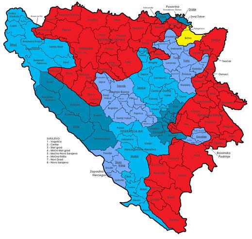 Federacija BiH sa razlicito obojenim kantonima (plavo), Republika Srpska (crveno), Brčko-Distrikt (žuto) (Slika: Wikipedia/j.budissin (Julian Nitzsche)/CC)