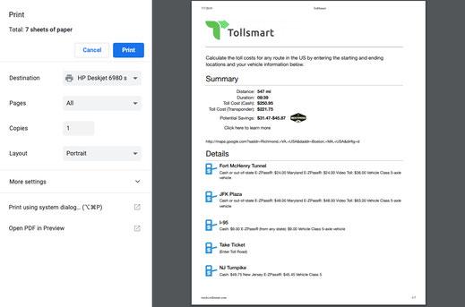 Tollsmart truck tolls calculator lets you print detailed toll information