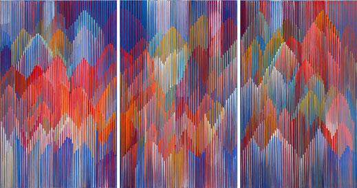 Astrid Schröder, 5 : 4-6 : 014, 70 x 150 cm, Acryl auf Leinwandwand, 2014