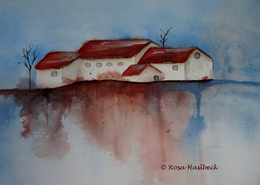 aquarell kaufen , landschaft, landschaftsaquarell, haus, bäume, blau, see.wasser, rot, braun, bild, kunst, bilder, malerei, malen, deko, dekoration, wandbilder, wand, geschenkidee, geschenke,malen, malerei, handgemalt,