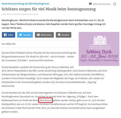 Artikel RP-Online.de vom 02.05.2019 (Vatertagsturnier Wevelinghoven)