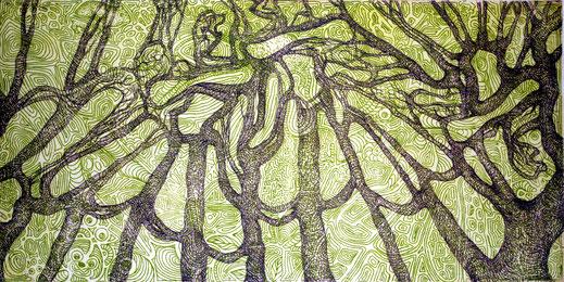 Prinzessinnen in Bäumen, 2010. (Farbradierung, 20 x 30 cm)