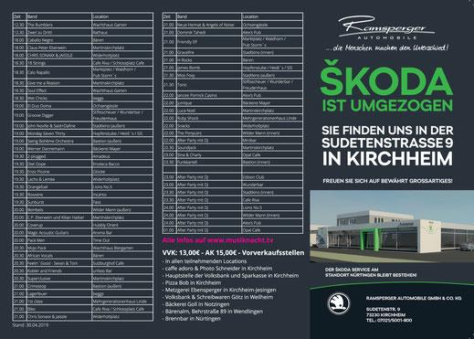 22. Kirchheimer Musiknacht am 01. Juni 2019 - Vorabflyer Seite 2+3