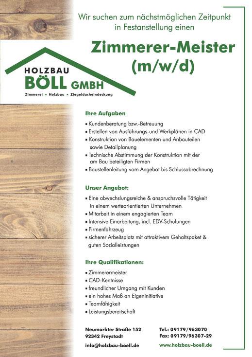 Stellenanzeige als Zimmerer-Meister Holzbau Böll Freystadt