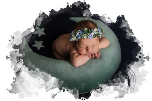 Baby Foto, Neugeborenen Fotografie, Oberösterreich - Salzburg Mädchen Mond
