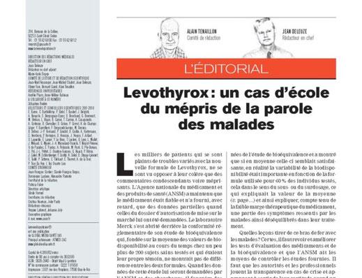 Levothyrox cas d'école du mépris de la parole des malades