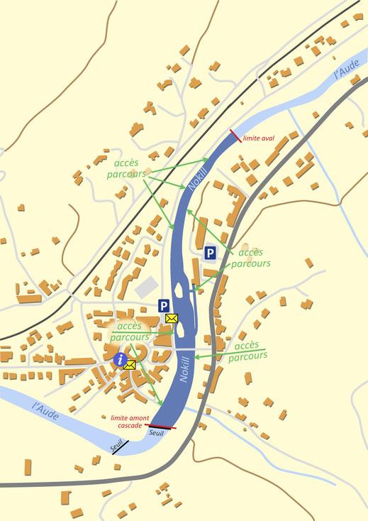 Plan du parcours pêche nokill de Campagne-sur-Aude - Pyrénées Audoises