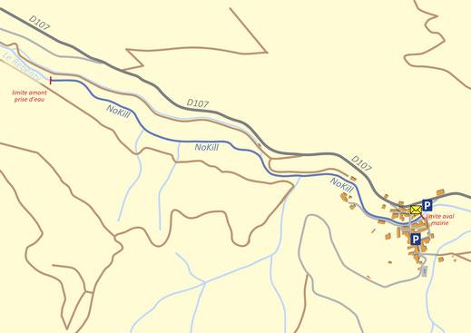 Plan du parcours pêche nokill de Joucou - Pyrénées Audoises