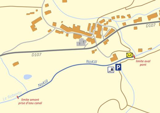 Plan du parcours pêche nokill de Belfort sur Rebenty - Pyrénées Audoises