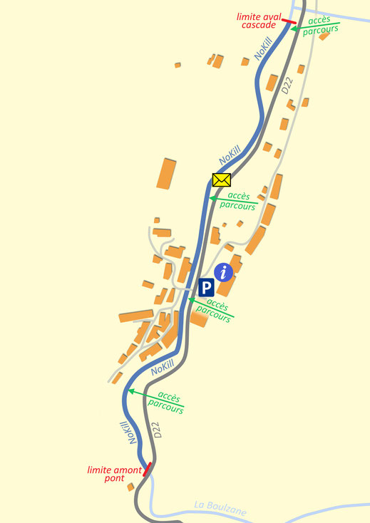 Plan du parcours pêche nokill de Gincla - Pyrénées Audoises