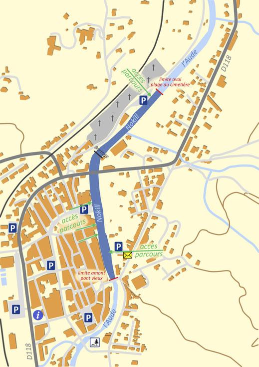 Plan du parcours nokill de Quillan - Pyrénées Audoises