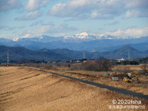 画像:2020/02/08 遊水地での工事と日光白根山