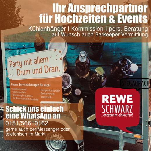 Event, Hochzeit, Party, Daheim feiern Gin Kühlanhänger Bamberg Stegaurach Würzburg Burgebrach Frensdorf franken Oberfranken  rewe schwarz Kommission Getränke
