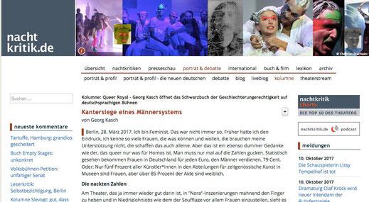 """Screenshot des Artikel """"Kantersiege eines Männersystems"""" auf nachtkritik.de"""