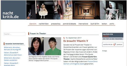 Ein Screenshot der Nachtkritik-Website, auf deren Titel France-Elena Damian und Angelika Zacek zu sehen sind.