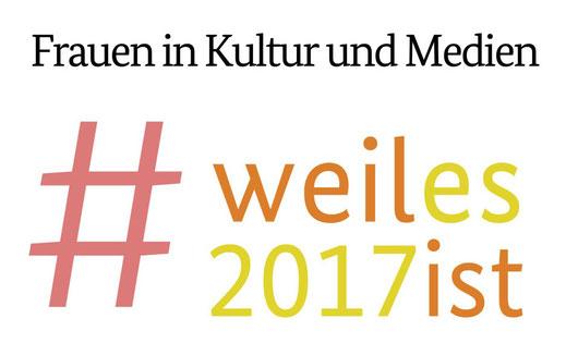 Banner mit dem Text: Frauen in Kultur und Medien # weil es 2017 ist