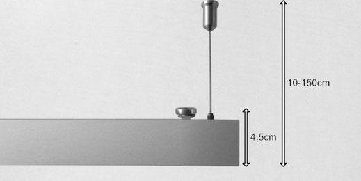 Die Montage der Deckensegel erfolgt mit Hilfe von Drahtseilabhängungen oder per Magnetsystem.