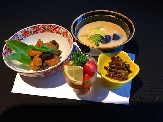 季節の前菜 博多がめに、鯛茶碗蒸し