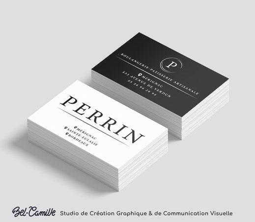 Studio Bel-Camille, réalisation graphique de carte de visite pour Perrin, boulangerie artisanale.