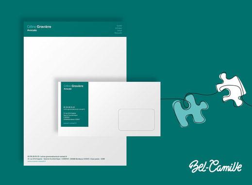 Papier entête et enveloppe personnalisés réalisés par Studio-Bel-Camille