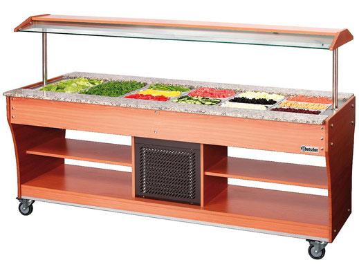 Mobiler Buffetwagen für kalte Speisen. Platz für insgesamt 6x GN 1/1. Auch verwendbar mit weiteren GN Größen.