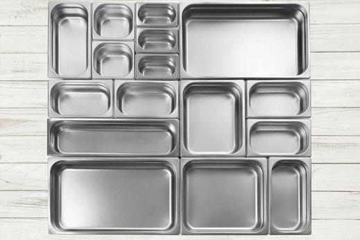 Gastronorm (GN) Behälter aus Edelstahl in Premium und ECO-Qualität sowie aus Polypropylen.