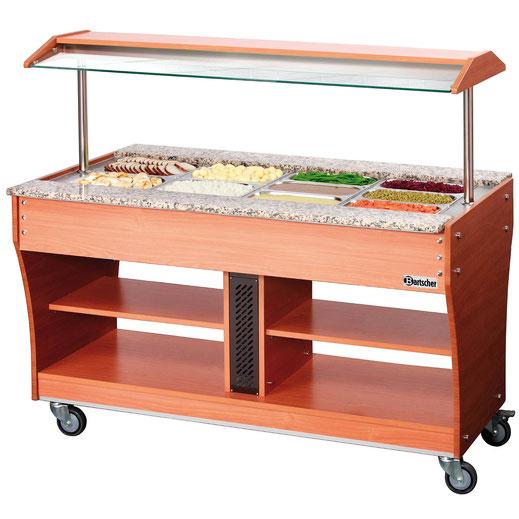 Mobiler Buffetwagen für warme Speisen. Platz für insgesamt 4x GN 1/1. Auch verwendbar mit weiteren GN Größen.