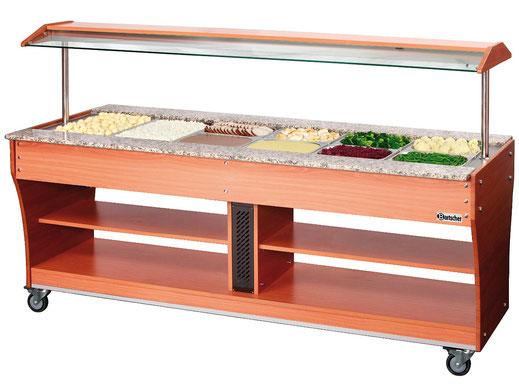 Mobiler Buffetwagen für warme Speisen. Platz für insgesamt 6x GN 1/1. Auch verwendbar mit weiteren GN Größen.