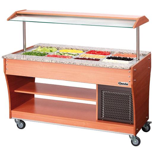Mobiler Buffetwagen für kalte Speisen. Platz für insgesamt 4x GN 1/1. Auch verwendbar mit weiteren GN Größen.