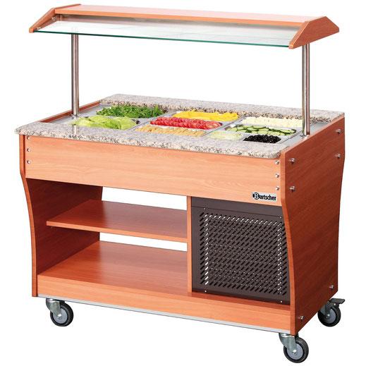 Mobiler Buffetwagen für kalte Speisen. Platz für insgesamt 3x GN 1/1. Auch verwendbar mit weiteren GN Größen.