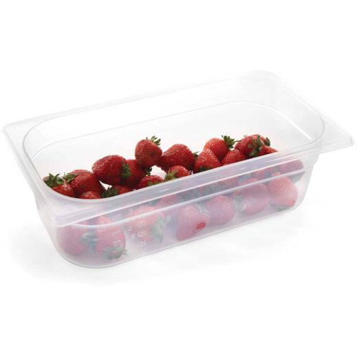 GN Behälter aus Polypropylen sind stapelbar und transparent. Preiswerte Aufbewahrung von Zutaten und Lebensmittel.