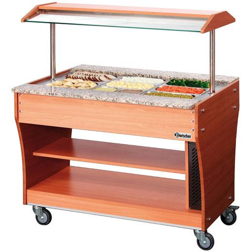 Mobiler Buffetwagen für warme Speisen. Platz für insgesamt 3x GN 1/1. Auch verwendbar mit weiteren GN Größen.