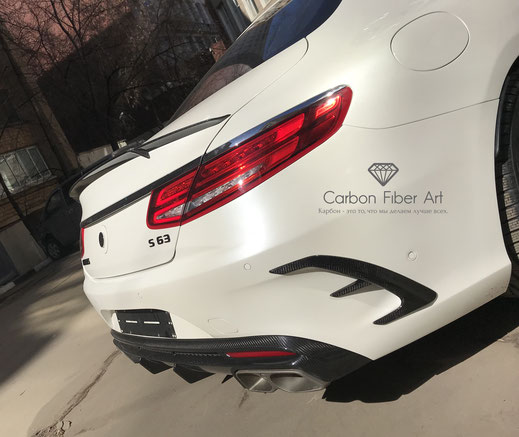 w222 w217 s63 s63amg s63amgs scoupe mercedes amg brabus carbon mirrors spoiler diffuser sideskirt hood bodykit tuning