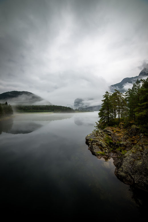 the shore of a misty lake covered with rocks and firs