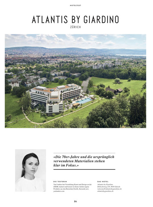 Yael Anders in Wohnrevue about Atlantis by Giardino Hotel Zurich