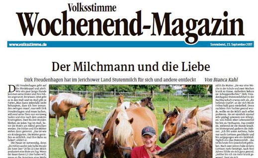 Zeitungsartikel in der Volksstimme über Stutenmilch Freudenhagen