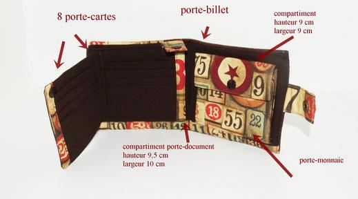 portefeuille vintage compact homme 8 parte-cartes porte-monnaie jetons de casino