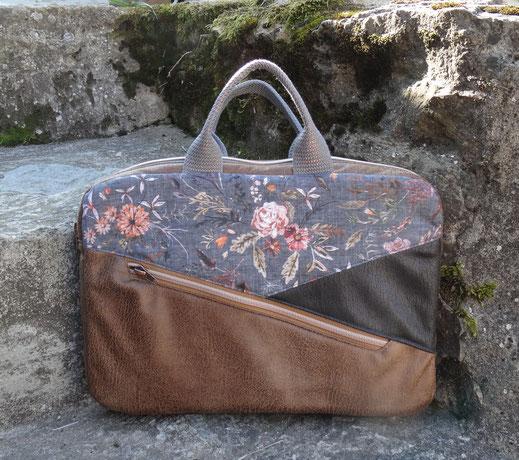 Sacoche pour ordinateur 13 pouces femme en faux cuir camel anthracite tissu  floral gris , protection matériel informatique