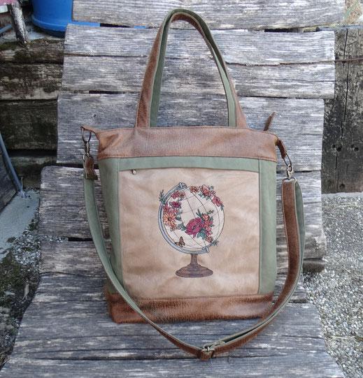 grand sac à main femme  broderie montgolfière mappemonde bohème toile kaki faux cuir camel pièce unique original pratique